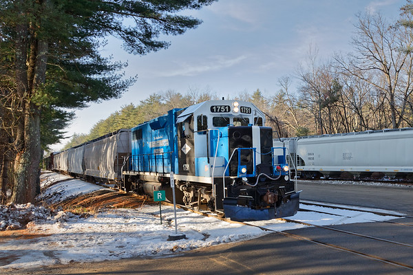 Mass Central 1751 switching hoppers in the transfer facility in Ware MA.<br /> 12/11/2020