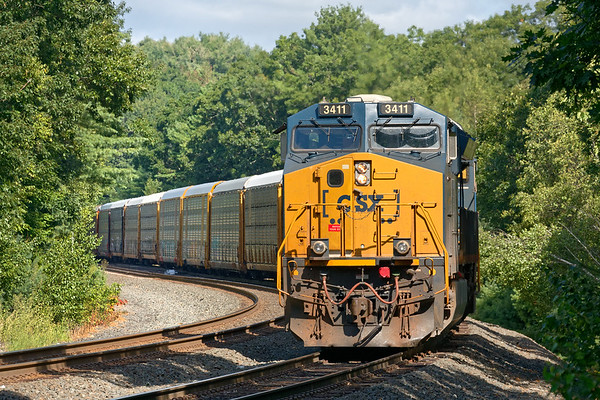 After the early traffic cleared, Q264 was finally able to back down the siding through MP60 with a long drag of auto racks for the EBSR.<br /> 8/17/2020