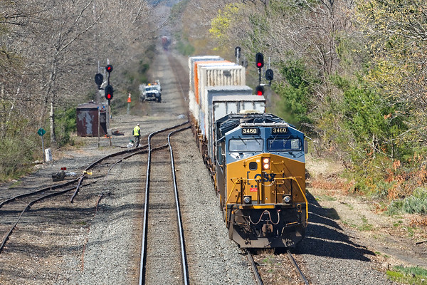 With 427 receding in the distance, 008 backs off the siding, through the signals and will head east on the main.<br /> 5/7/2020