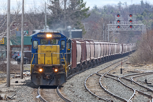 Around midday, an empty grain train came down the hill heading west through the Gardner yard.<br /> 4/15/2020