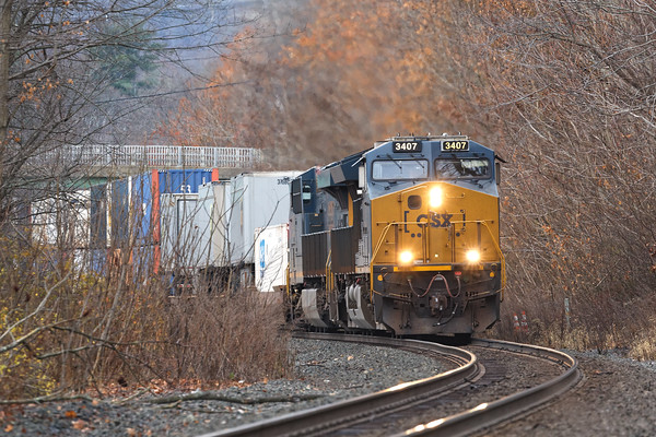 022 was pulling hard up the grade just east of MP75 in West Warren MA.<br /> 11/15/2020