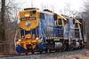 Both running long hood forward, NECR 3850 and 3845 lead train 608 south from Palmer through Monson MA.<br /> 2/7/2020