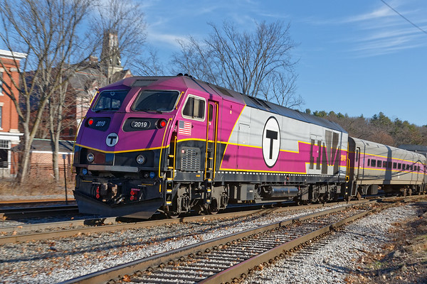 Sporting the T's new look, MBTA 2019 is on an inbound commuter out of Ayer.<br /> 12/3/2020