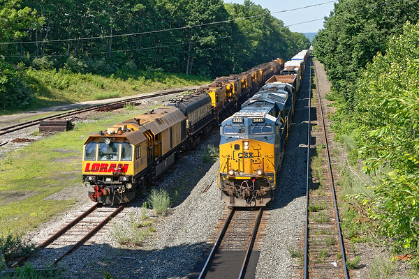 Hangin' with LORAM...<br /> Yawn...next through was Q436 with the still quiet Loram in the yard.<br /> 7/6/2020