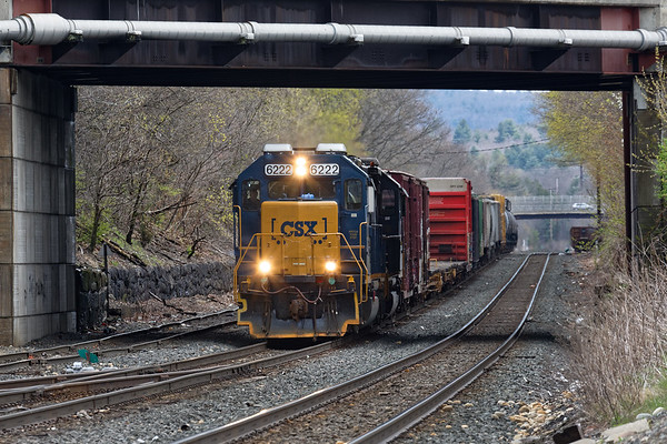 On a dark, damp afternoon at MP83 in Palmer MA, B740 starts it's run back to Springfield.<br /> 5/1/2020