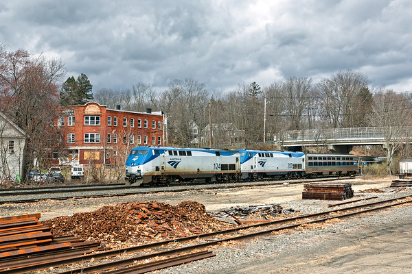 With two units running elephant style, on time Amtrak 449 blasts through MP64 in East Brookfield MA.<br /> 4/10/2020