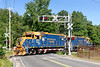 """NECR 3845 and 3857 head south at """"hospital"""" crossing in Palmer MA.<br /> 6/17/2020"""