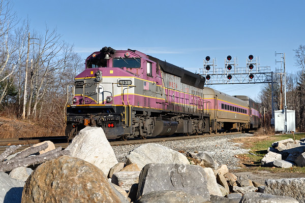Pushing an inbound commuter back into Boston is classic MBTA GP40 MC #1138.<br /> 12/3/2020