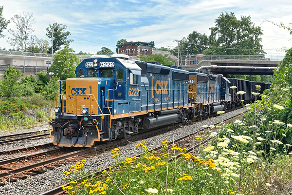 Flanked by mid Summer wildflowers, CSX train B740 prepares to depart Palmer MA for Springfield .<br /> 7/24/2020