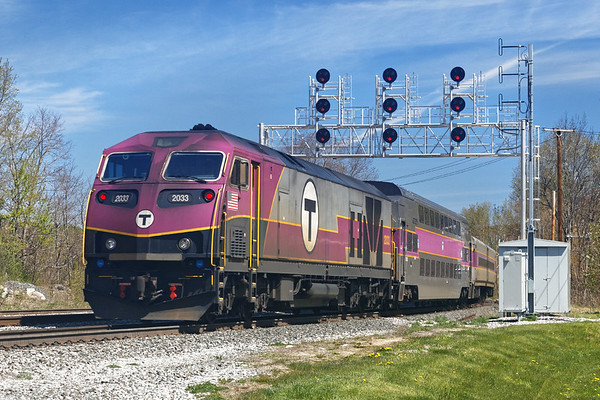 """Inbound """"T"""" pushing out of Wachusett Station in Fitchburg.<br /> 5/14/2020"""
