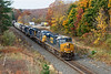 With 4 units on the point and 1 pusher, Q436 rolls through MP75 in West Warren MA.<br /> 10/25/2020