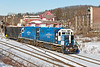 MCER 1750 and 1751pull a single rubbish car into the CSX yard at MP83 in Palmer MA.<br /> 12/23/2020