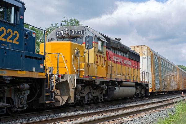 CSX train B740 backs down into the Palmer MA yard with CSOR 3771 for the NECR.<br /> 7/20/2020