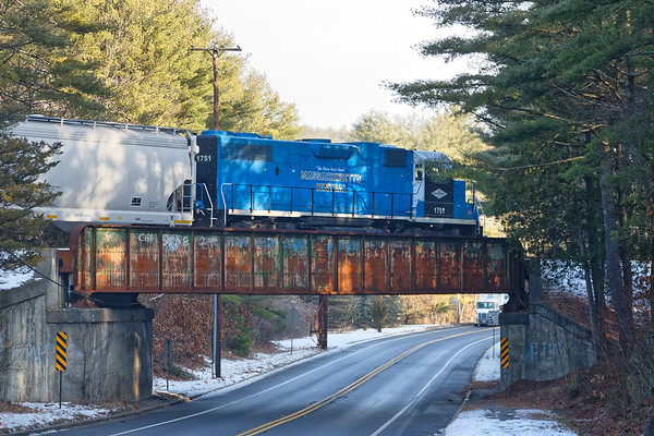 MCER northbound over Rte 32 in Ware MA.<br /> 12/11/2020