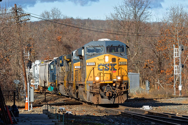 Q436 rattles across the diamond at Palmer MA.<br /> 11/16/2020