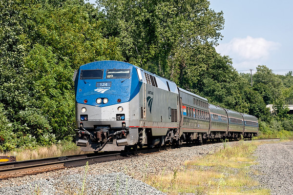 Running ontime at track speed, Amtrak 449, the Lake Shore Limited, rolls through MP57 in Charlton MA.<br /> 8/25/2020