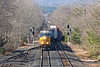 Q426 crossing over from single to double track at MP64.<br /> 3/18/2020