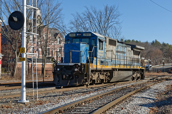 Pan Am 7517 (smurf nose), one of their brand-new-used ex-CSX C40-8s works in the center of Ayer MA.<br /> 12/3/2020