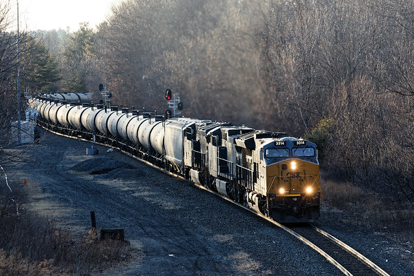 At a half hour before sunset, there was just enough light for some glint off the ethanol train.<br /> 2/3/2020