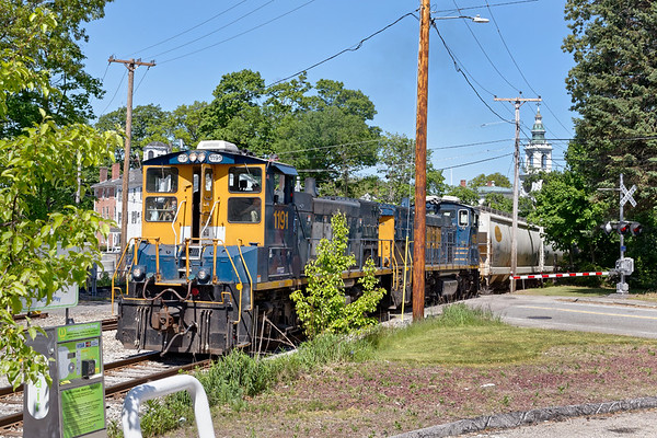G&U runs through the picturesque center of Grafton MA on it's way to their transload facility in Upton.<br /> 5/27/2020