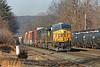 CSX train Q426 hustles through the yard at MP83 in Palmer MA.<br /> 1/13/2021