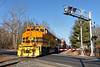NECR 3015 leads train 608 south across Hospital Road in Palmer MA.<br /> 1/13/2021