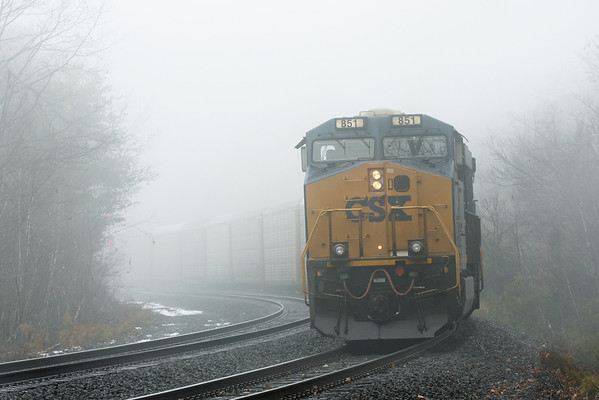Q264 emerges out of the fog at MP60, Spencer, MA. 12-02-2012 - 598C4707dK