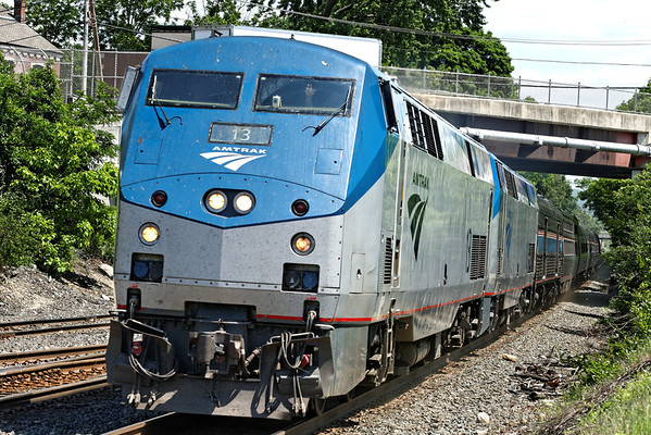 Amtrak 449 blasts through MP83, Palmer, MA. 5/31/2012 - 598C8691dK