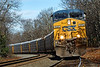 On a cold, crisp late Fall morning, train Q264 backs down through MP60, Spencer, MA on the CSX Boston Line. Notice the wear on the inside rail on the main, looks like some more curve patching might be due... 11/4/2012 - 598C3434dK