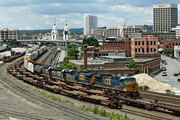 View of the CSX yards in Worcester, MA from Franklin St, looking West towards the white twin towers of the restored Union Station. 7/2/2012 - 598C9927dK<br /> See the next photo for the same view, taken in 1940 by my Dad, Alfred Arnold.