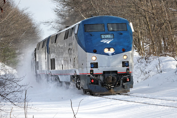 Amtrak 449 heads west through the new snow in the rock cut near the top of the Charlton Hill just east of MP57, Charlton, MA. 12/30/2012 - 598C5344dK