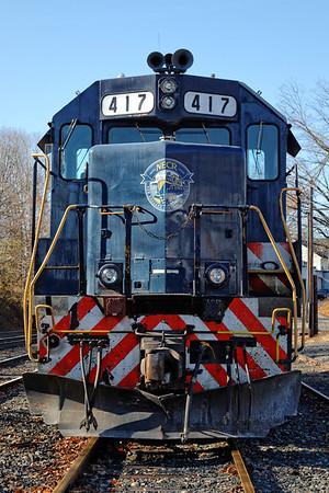 NECR 417 sits in the CSX yard at MP83, Palmer, MA. 11/14/2012 - 598C3782dK