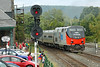 """With a control car on the nose and Amtrak 156 Heritage on the tail, the """"Vermonter"""" heads west on the main past the historic Palmer Depot and a small but appreciative crowd at MP83, Palmer, MA. 9/8/2012 - 598C0938dK"""