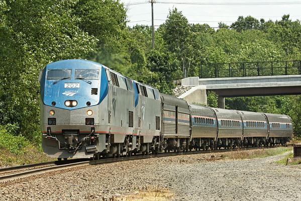 Amtrak 449 rolls off the Charlton Hill at MP57, Charlton, MA. 7/23/2012 - 598C9436dxK
