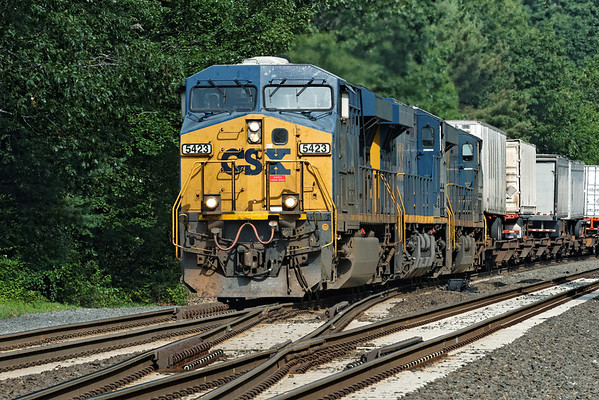 So many rails... CSX train Q012 rolls East through the switches at MP60, Spencer, MA. 8/5/2012 - 598C9771dK