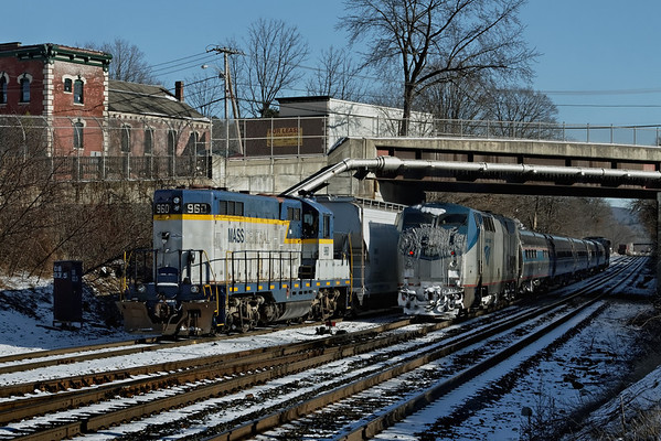 """Mass Central 960 eases past Amtrak's """"Vermonter"""" which is waiting to head west from MP83, Palmer, MA. 1/20/12 - IMG_3263dK"""