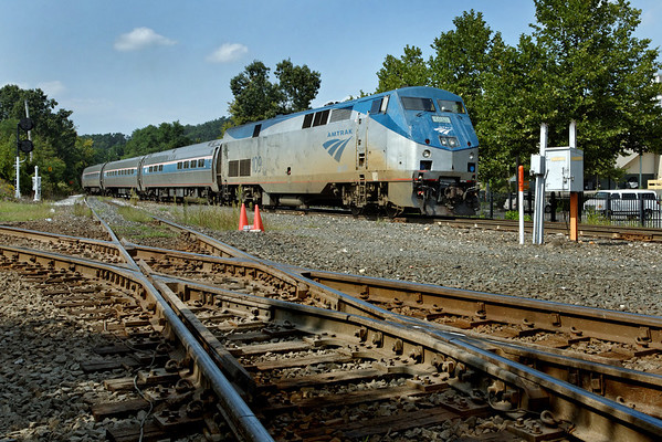 """Amtrak """"Vermonter"""" comes off the NECR into the CSX yard at MP83, Palmer, MA. With a control car in the lead, train will head west across the diamond in the foreground. 9/7/2012 - 598C0874dK"""