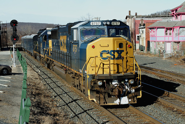 "Two car CSX ""BigWig Special"" eastbound at MP83, Palmer, MA. 1/16/12 - IMG_3210dK"
