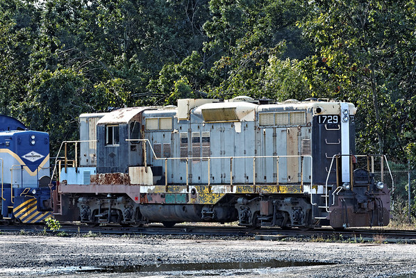 Got Paint?? In contrast to the neat looking 2100, a rather ragged looking 1729 sits in the Mass Central yard in Palmer, MA. 9/12/2012 - 598C0996dK