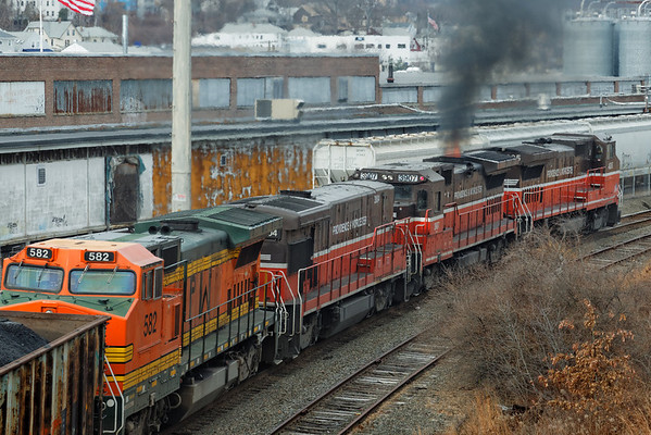 PWBO north of the Millbrook St. bridge, Worcester, MA.<br /> Uh, should there be flames coming from the stack on 3907? 12/7/2012 - 598C4848dK
