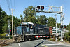 "NECR 437 heads south through the ""hospital"" crossing from their yard in Palmer, MA. 9/12/2012 - 598C1003dK"