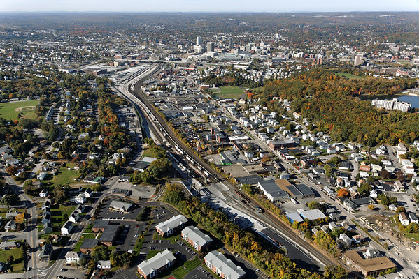 Aerial view, looking west, of the newly expanded CSX yard in Worcester, MA. 10/17/2012 - 598C2917dK