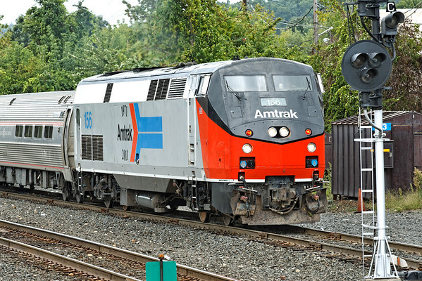 """With Amtrak 156 Heritage on the nose, the """"Vermonter"""" pulls into the CSX yard at MP83, Palmer, MA. 9/8/2012 - 598C0911dK"""