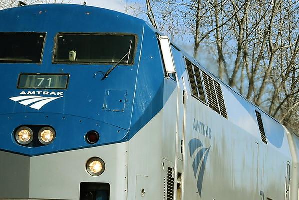 Amtrak train 449 off the Charlton Hill heading west through MP57, Charlton, MA. 4/6/2012 -