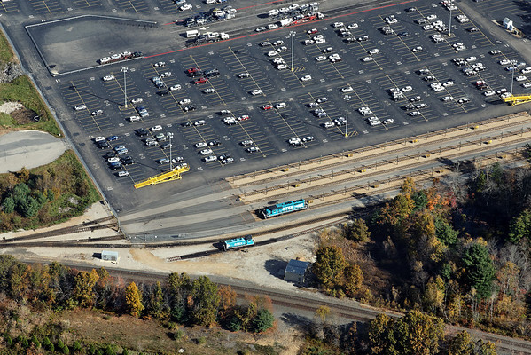 Aerial view of the East Brookfield and Spencer's two RailTex units which handle the switching duties. 10/17/2012 - 598C3013dK