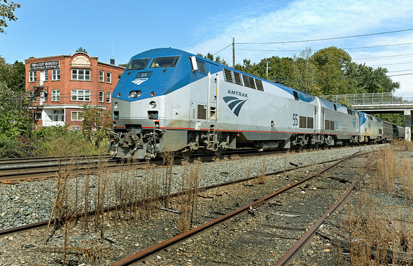 Seen here passing through MP64, East Brookfield, MA, Amtrak 449 is back after a week of track work on the CSX Boston Line. 9-21-2012 - 598C1912dK  *OK Tad?*