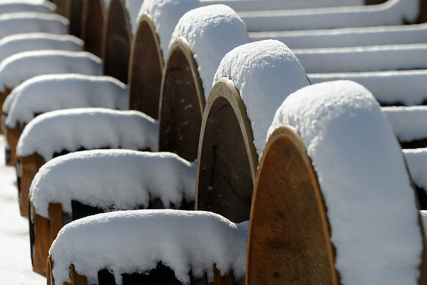 A light snowfall covers a line of wheel sets in the NECR yard in Palmer, MA. 1/22/12 - IMG_3345dK