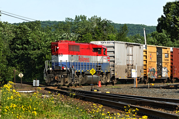 NECR (TPW) 4053 crossing the CSX diamond, heading south into the NECR yards at MP83 Palmer, MA. 6/1/2012 - 598C8738dK