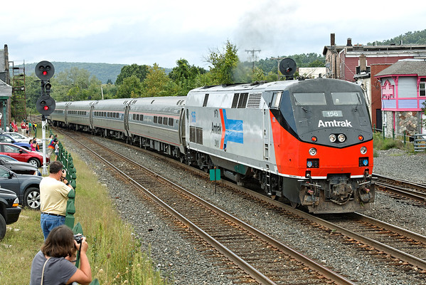 "With a control car on the nose and Amtrak 156 Heritage on the tail, the ""Vermonter"" heads west from the siding track to the main at MP83, Palmer, MA. 9/8/2012 - 598C0901dK"