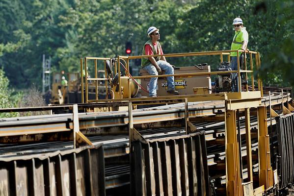 CSX rail train laying ribbon rail just west of MP60, Spencer, MA. 9/5/2012 - 598C0760dK